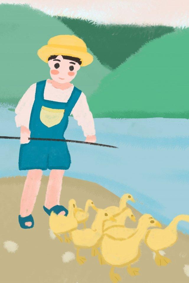兒童農村鴨農場工作 插畫素材