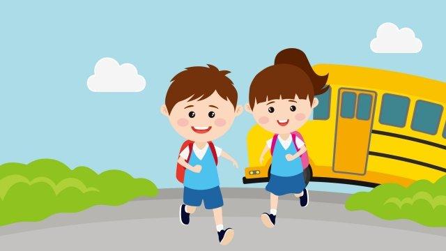 children starting school go to school run llustration image