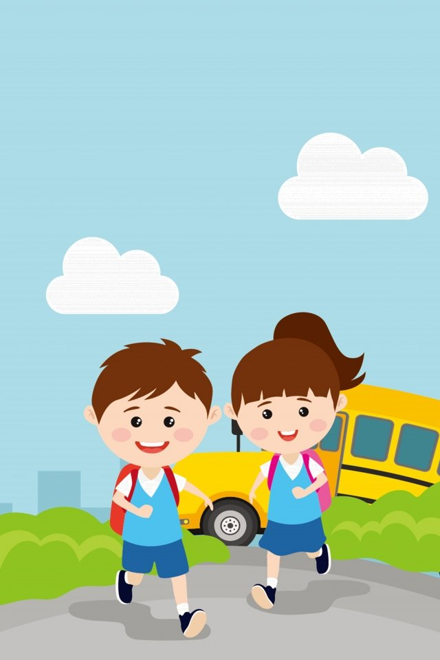 children starting school go to school run llustration image