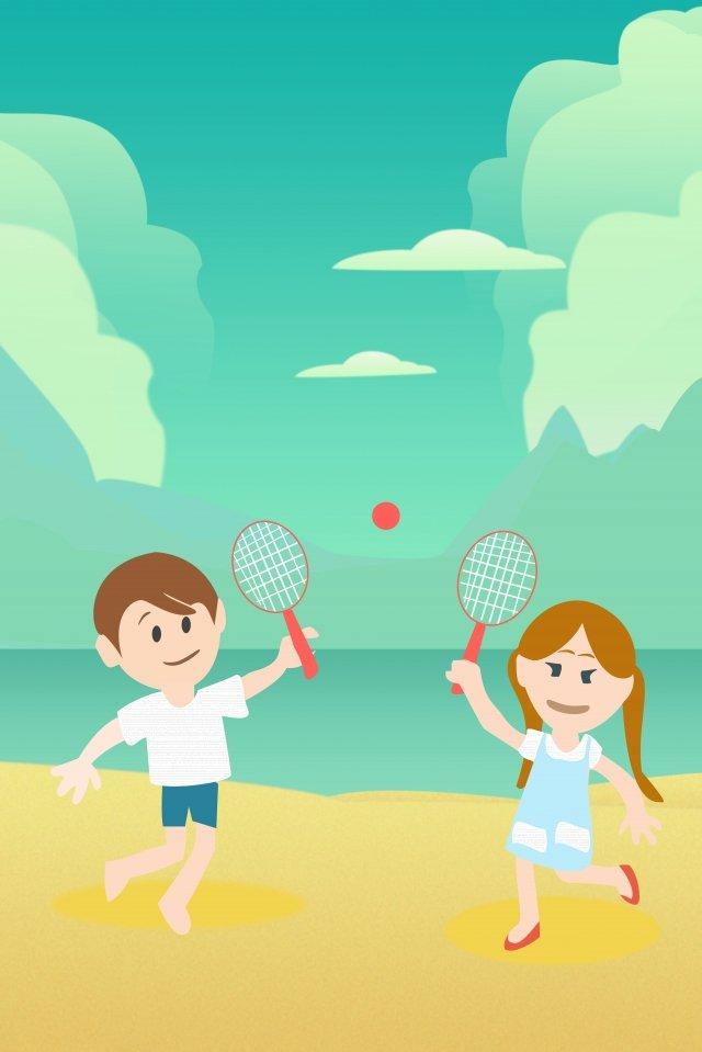 أطفال يوم شاطئ البحر فتاة صغيرةولد  صغير  تلعب PNG و PSD illustration image