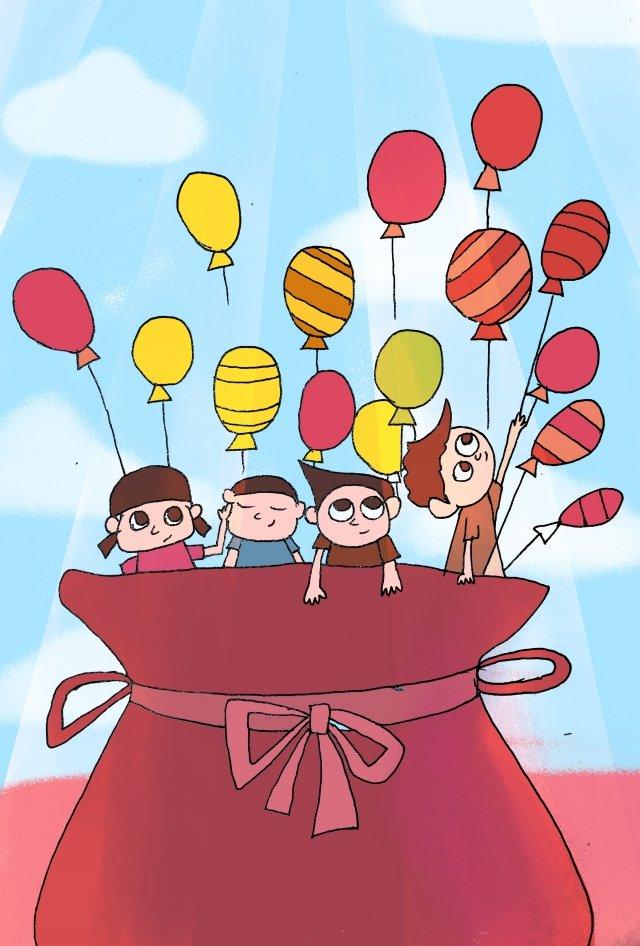 子供の日子供女の子風船 イラストレーション画像