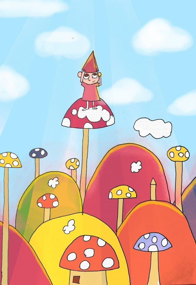 子供の日子供女の子夢 イラストレーション画像