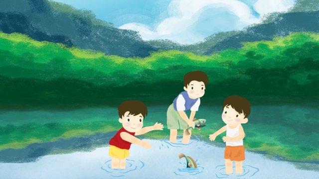 childrens day child garotinho peixe na água Material de ilustração