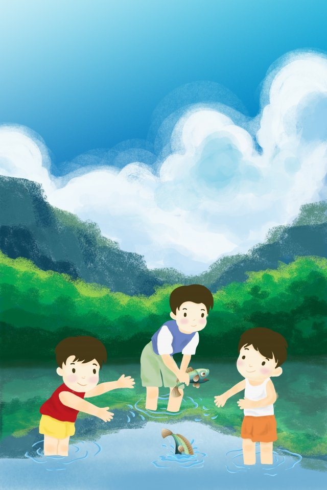 childrens day child little boy fish in the water illustration image