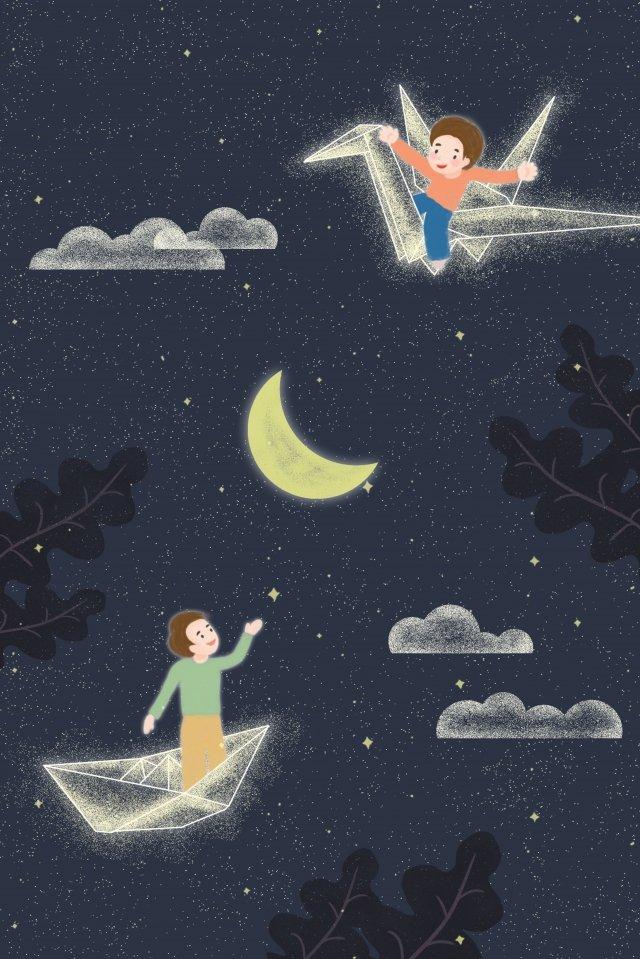 子供の日子供千巻鶴紙の舟 イラストレーション画像