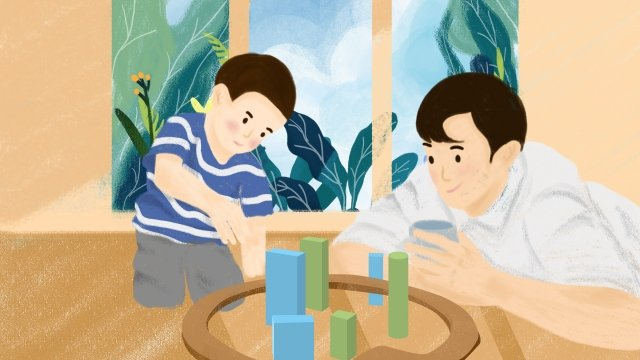 子供の日家族暖かいシーン父と息子のゲーム イラスト素材 イラスト画像