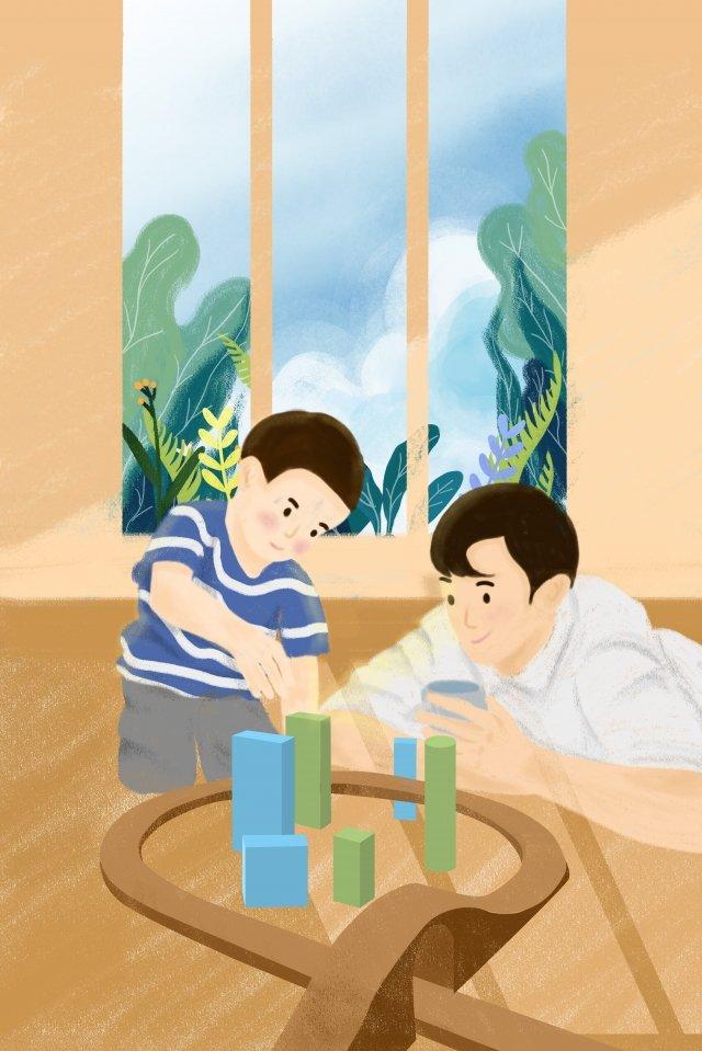 子供の日家族暖かいシーン父と息子のゲーム イラスト素材