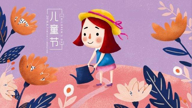 子供の日花小さな女の子6 1 イラストレーション画像