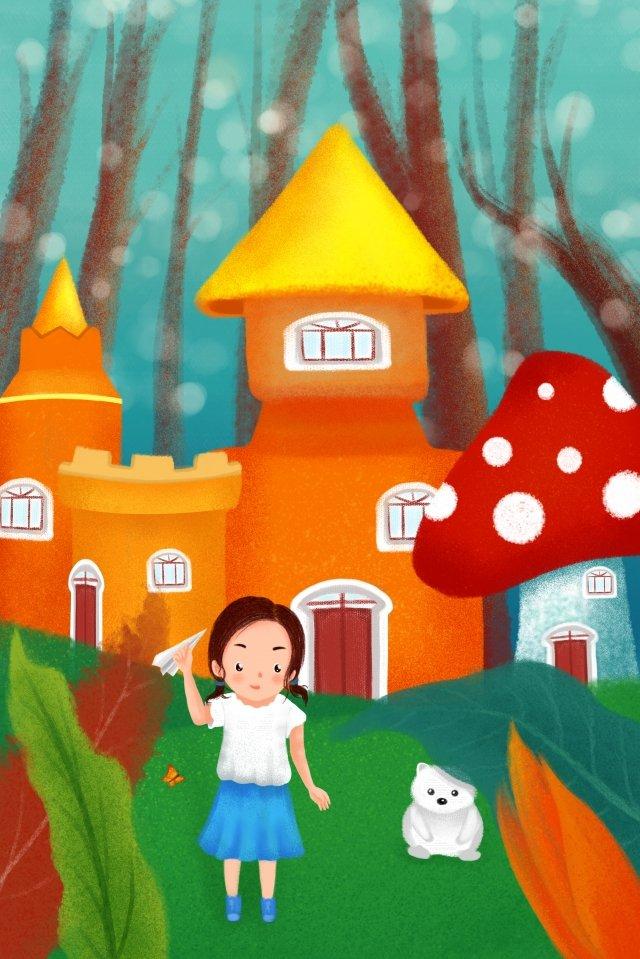 childrens day forest castle hand drawn illustration, Little Girl, Little White Bear, Butterfly illustration image