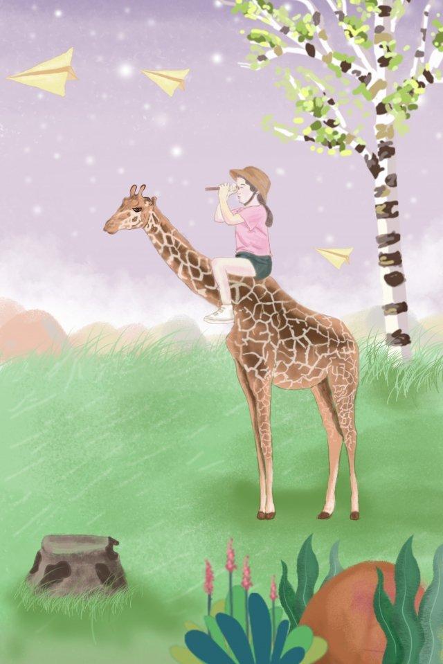 子供の日の女の子キリン望遠鏡 イラストレーション画像