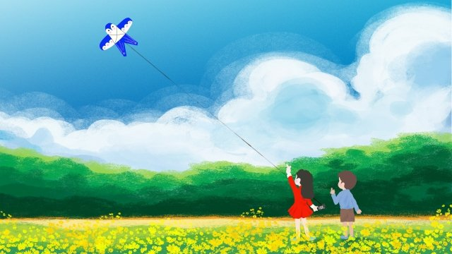 childrens day hand painted texture children flying kites llustration image illustration image