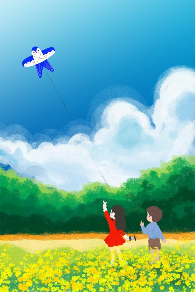 childrens day hand painted texture children flying kites, Poster, Illustration, Child Playing illustration image