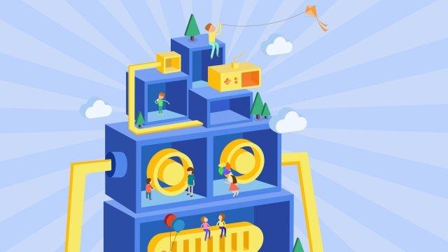 childrens day kindergarten parent child paradise cartoon illustration llustration image