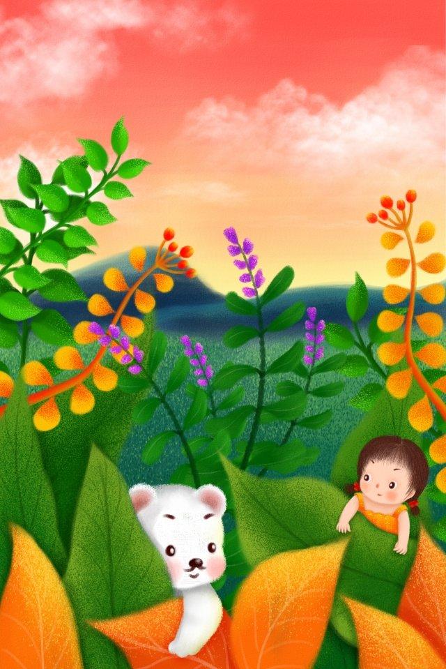 子供の日小さな女の子ホッキョクグマ草原 イラスト画像
