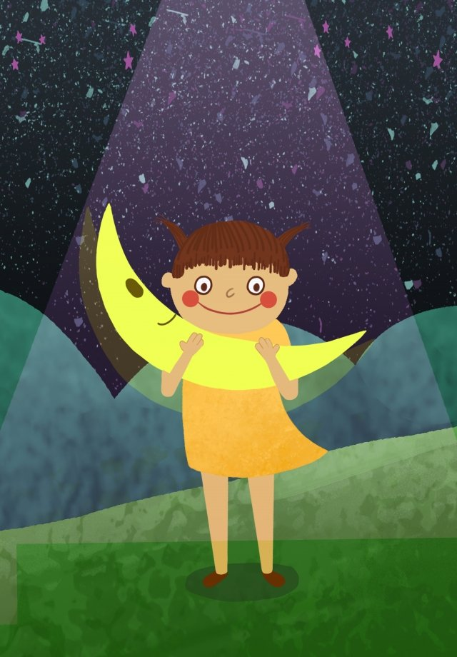 childrens day lovely wind hand drawn illustration little girl llustration image illustration image