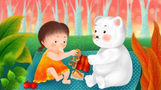 childrens day polar bear little girl picnic llustration image