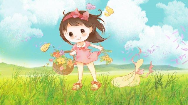 子供の日6 1つの美しい少女 イラストレーション画像