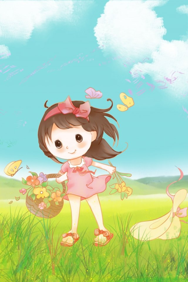 childrens day six one beautiful little girl illustration image