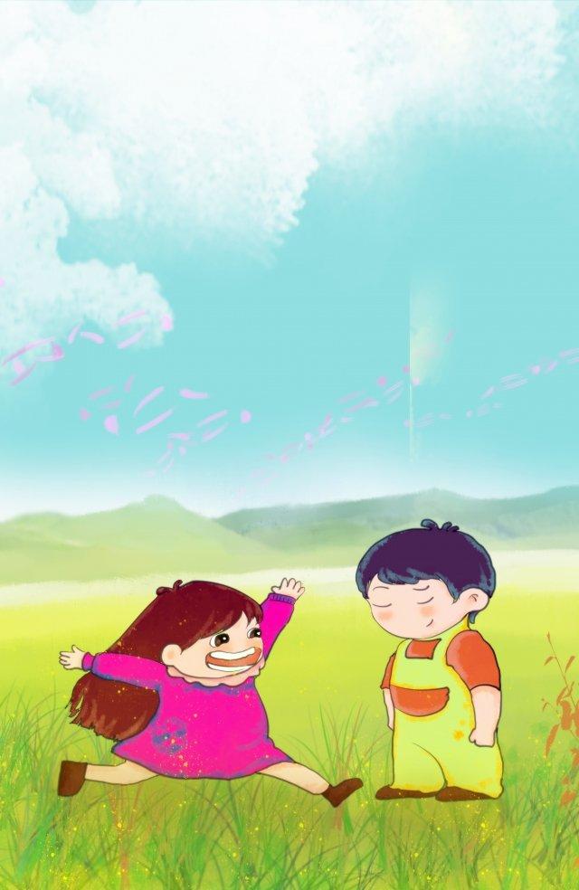 男の子と女の子、こどもの日、美しいイラスト こどもの日 シックスワン 少年 少女 美しい 子供っぽい 子供っぽい 手描き 漫画男の子と女の子、こどもの日、美しいイラスト  こどもの日  シックスワン PNGおよびPSD illustration image