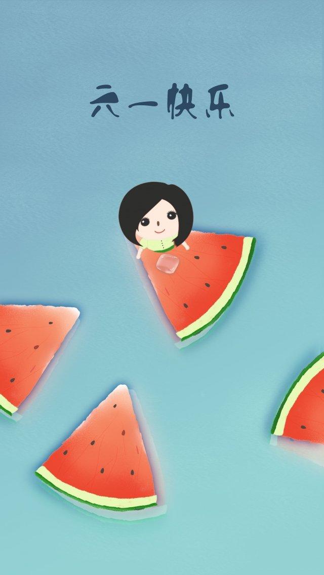 子供の日6 1夏スイカ イラスト素材 イラスト画像