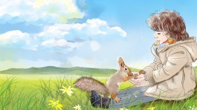 子供の日リス少年美しい イラストレーション画像