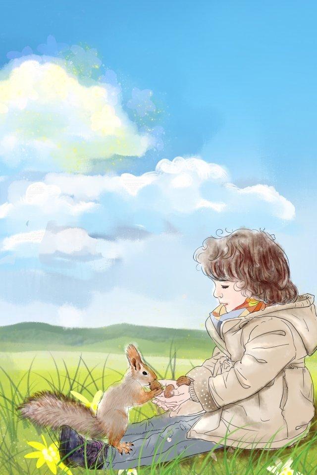 childrens day squirrel menino criança Material de ilustração Imagens de ilustração