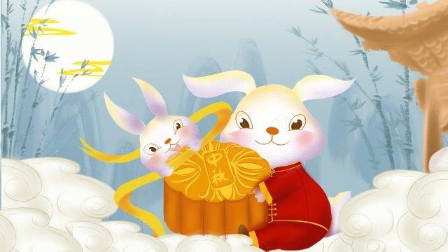 china traditional festival mid-autumn festival, Reunion Festival, Moon Cake Festival, Jade Rabbit illustration image