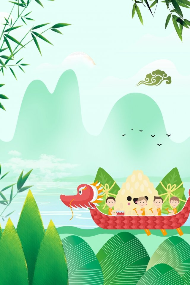 chinese style green lake surface dragon boat festival, Dragon Boat, Poster, Loquat Leaves illustration image