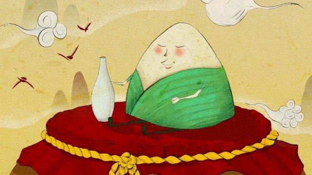 中国風の手描きのzongzi黄色いワインの小さな水差しを飲む イラスト素材 イラスト画像
