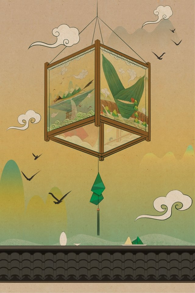 中式燈籠庭院牆磚表面 插畫素材 插畫圖片