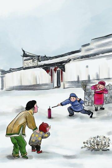中華風春祭り新年爆竹 イラストレーション画像 イラスト画像