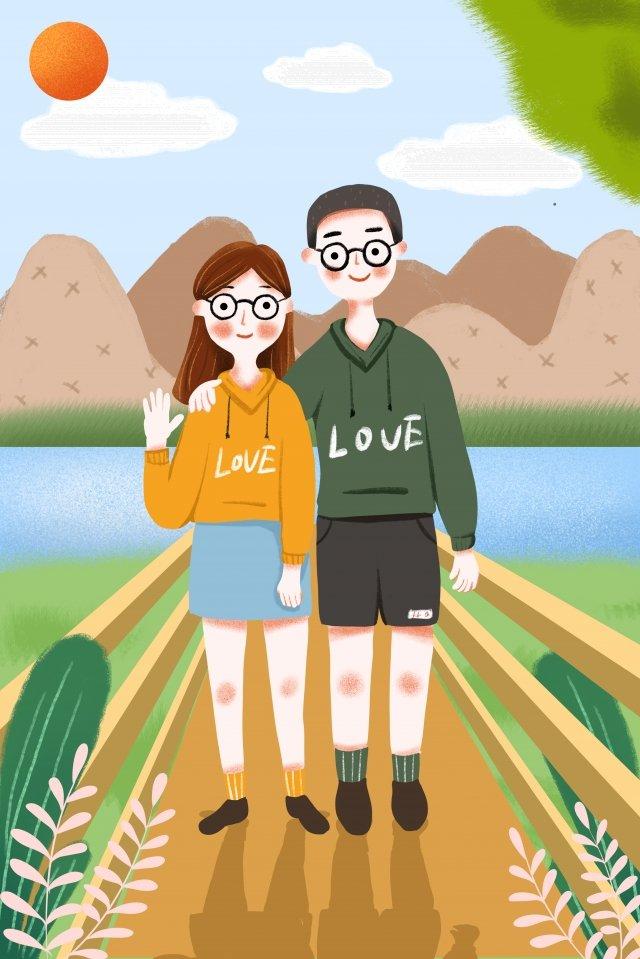 中國情人節情人節約會浪漫 插畫素材 插畫圖片