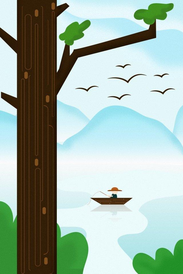 清明節春湖表面景觀 插畫素材