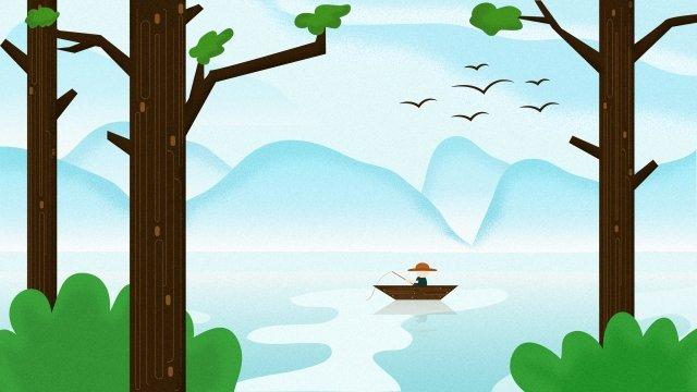 清明祭春春雨釣り イラストレーション画像