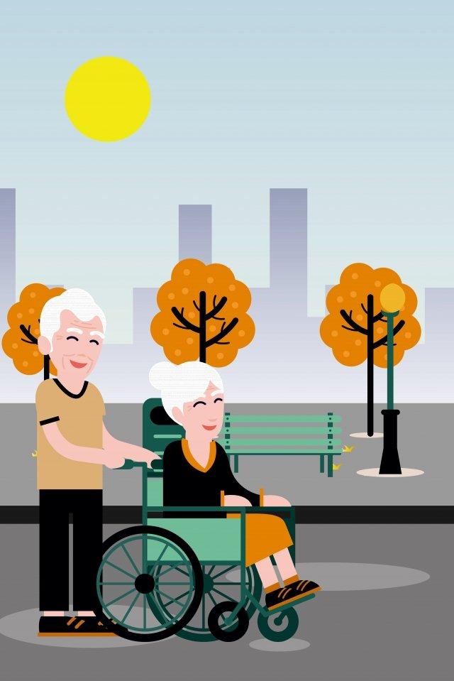 チョンヤン祭り老人公園 イラスト素材 イラスト画像