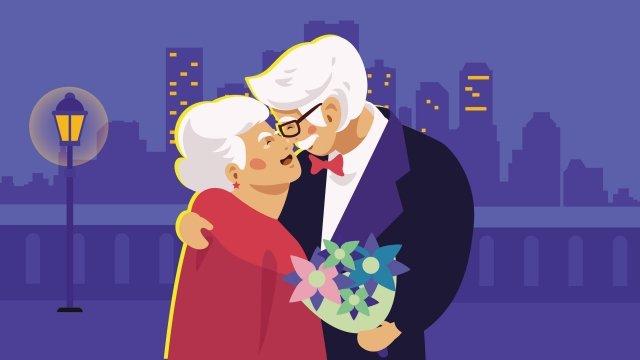チョンヤン祭りロマンチックな老人 イラスト素材