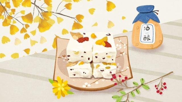 chongyang pastry liqueur ginkgo llustration image illustration image