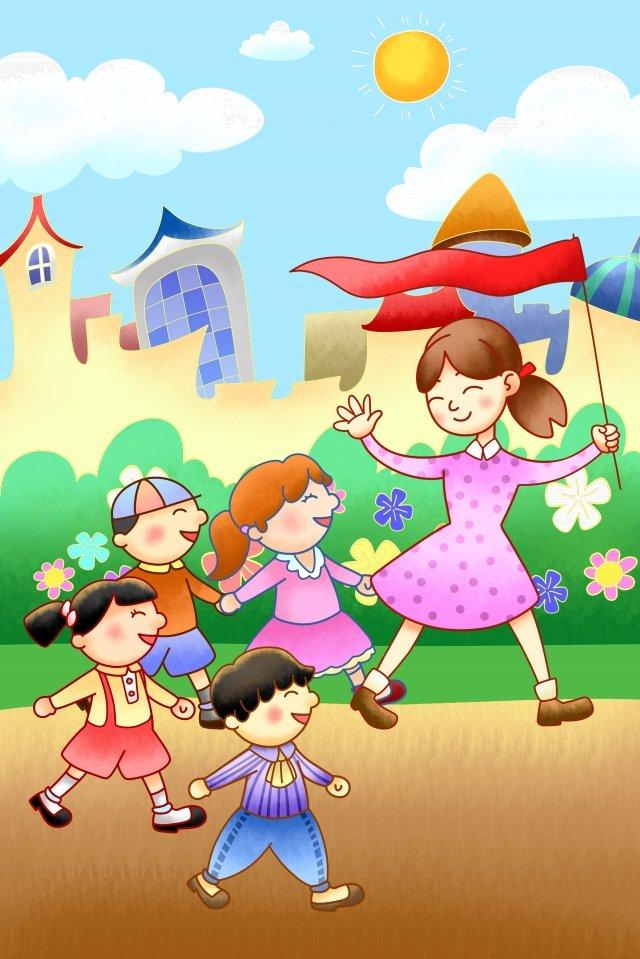 コーラス幼稚園手塗り子 イラストレーション画像