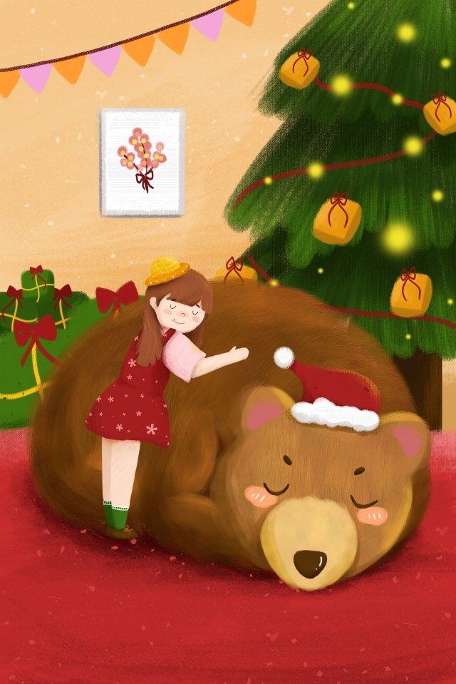 クリスマスクマ十代の少女ギフト イラストレーション画像