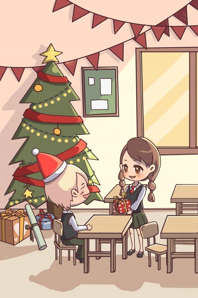 christmas boy girl couple, Gift, Christmas Tree, Classroom illustration image