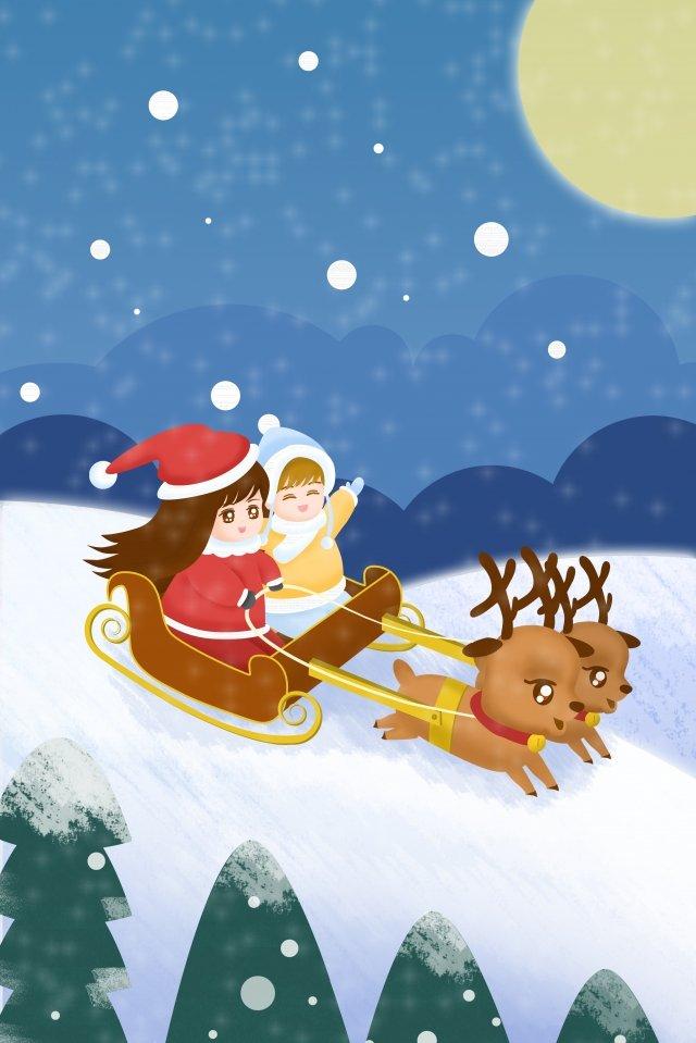 أطفال عيد الميلاد الرنة الثلج مواد الصور المدرجة