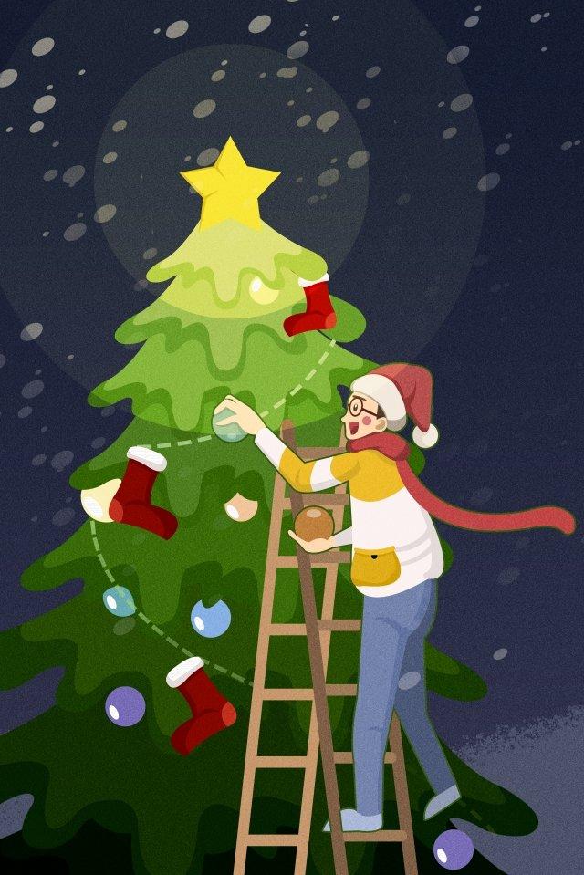 크리스마스 크리스마스 크리스마스 이브 소년 삽화 이미지