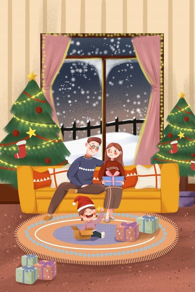 クリスマスクリスマスクリスマスツリーの家族 イラスト素材 イラスト画像