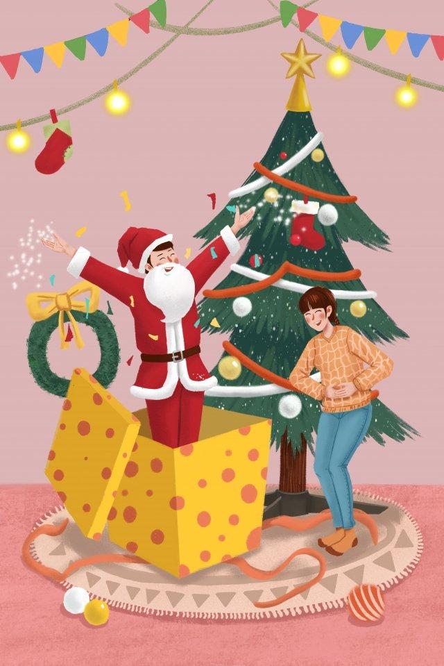 クリスマスクリスマスクリスマスツリー緑の植物 イラストレーション画像