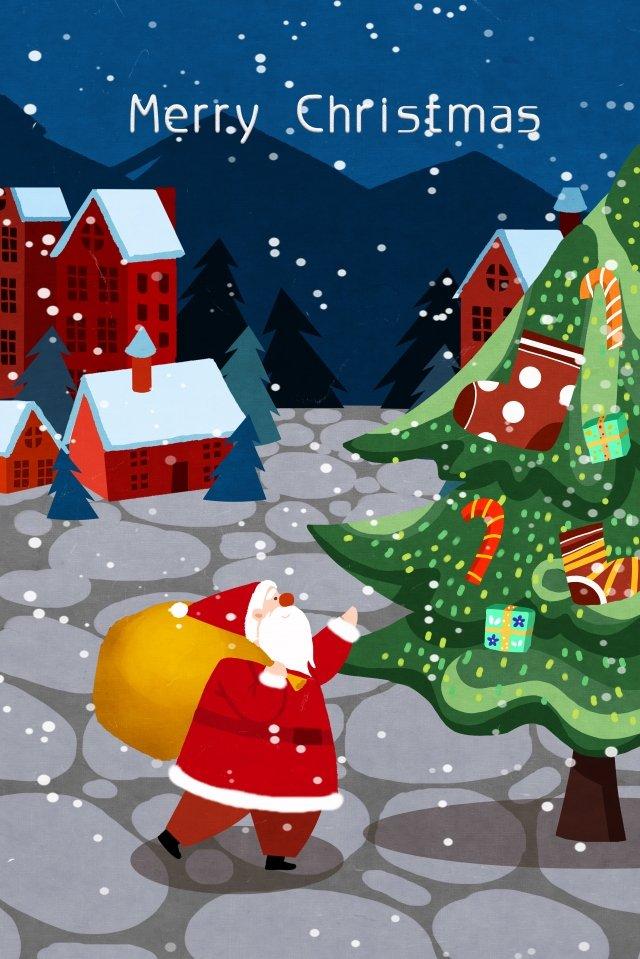 クリスマスクリスマスクリスマスツリーサンタクロース イラスト素材