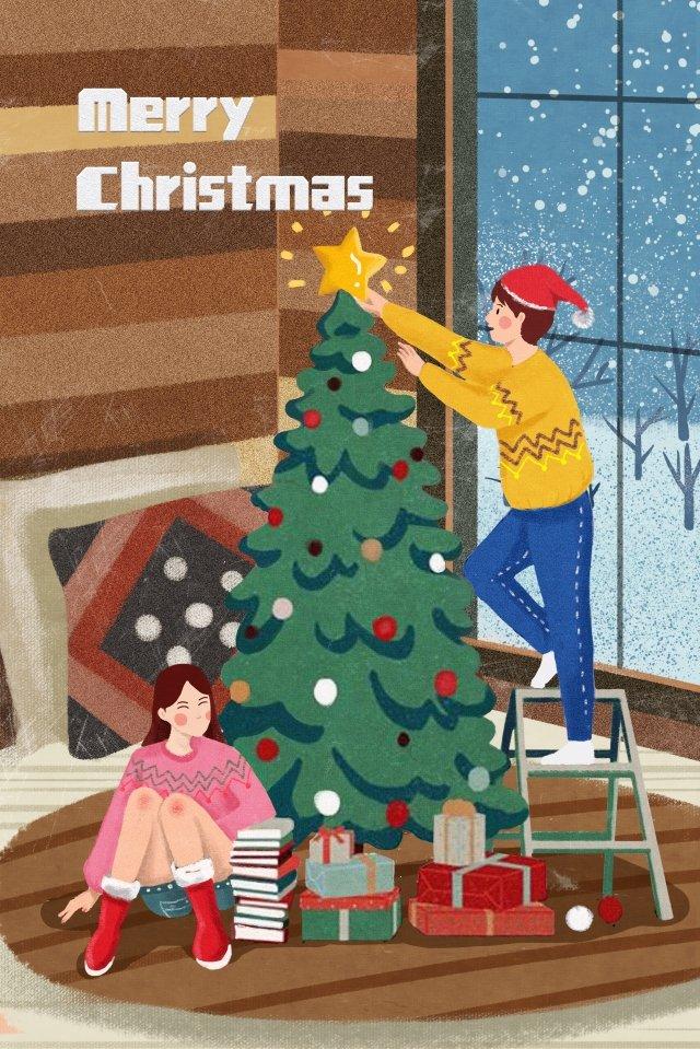 クリスマスクリスマスカップルクリスマスツリー イラスト素材 イラスト画像