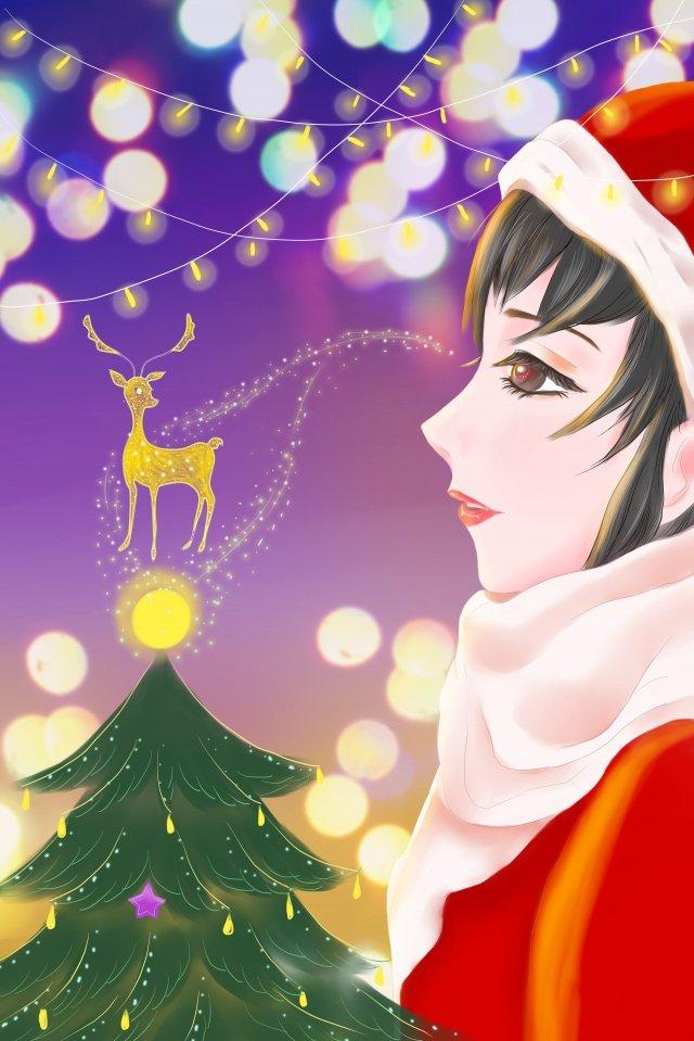 크리스마스 크리스마스 네온 fawn 크리스마스 이브 삽화 소재 삽화 이미지