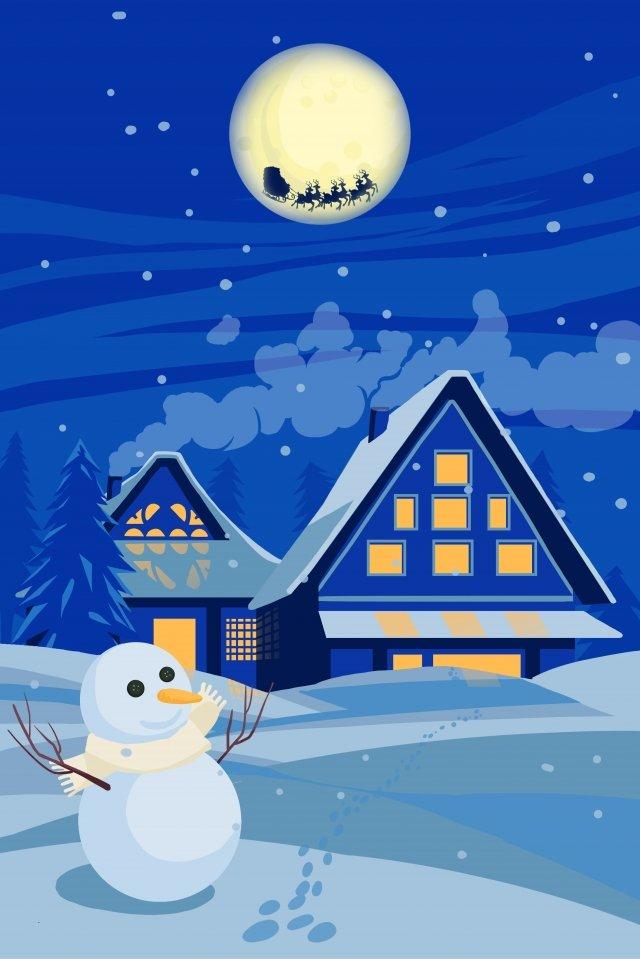 クリスマスクリスマスの夜クリスマスイブの雪だるま イラスト画像