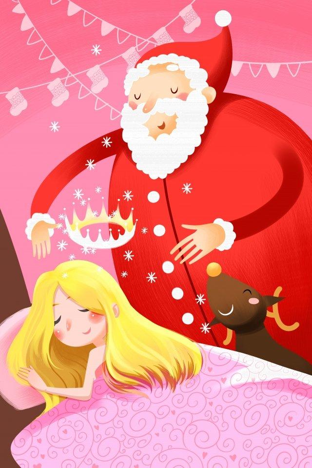 рождество рождество дед мороз девушка Ресурсы иллюстрации