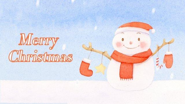 クリスマスクリスマス雪だるま水彩画 イラスト素材